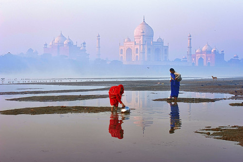 sunset india water sunrise reflections river arch indian tomb taj tajmahal agra camel riverbanks shahjahan yamunariver uttarpradesh mumtaz marblebuilding