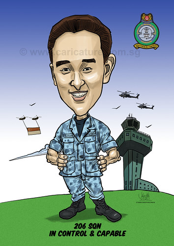 Kelvin Ang caricature for Singapore Air Force (watermarked)