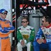 Charlie Kimball, Ed Carpenter, and Justin Wilson share a good laugh during pre-race festivities in Sonoma