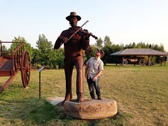 Aidan next to Davidson's giant fiddler