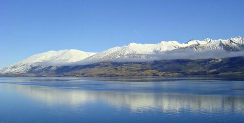 sky cloud lake mountains reflection