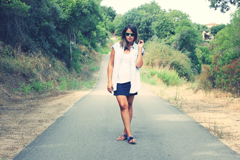 Look Denim + Blue skirt - Monicositas