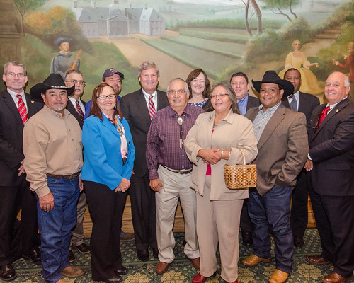 U.S. Department of Agriculture (USDA) Secretary Tom Vilsack (center left, second row) meets with members of the USDA Council for Native American Farming and Ranching (CNAFR) in Washington, D.C. USDA Photo by Lance Cheung.
