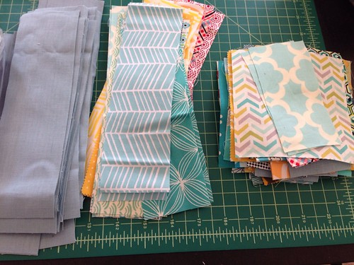 Light blue and yellow baby quilt in progress