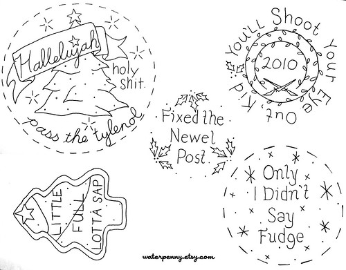 Pattern for disgruntled Christmas embroidery