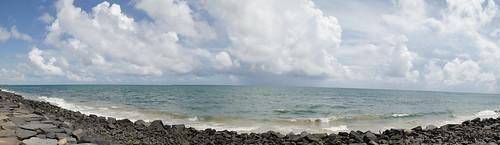 travel sea panorama beach water clouds rocks promenade pondicherry