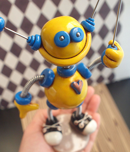 Yellow Yancy Robot Photo Holder by HerArtSheLoves
