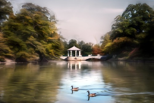Piedmont Park - lakeside gazebo pavilion and Canada Geese