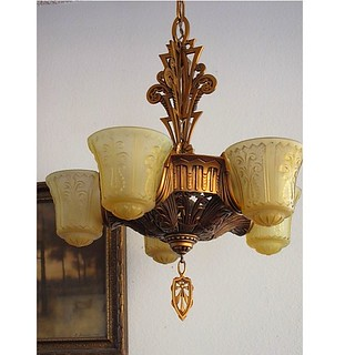 *vintage Beardslee slipper shade chandelier | vintagelights.com (3) - Copy