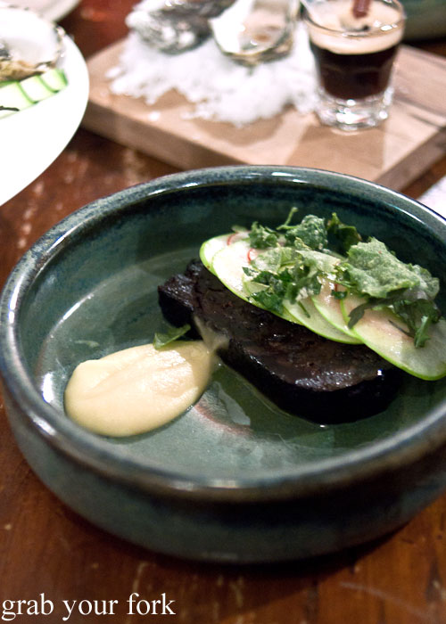Black pudding, radish and saltbush
