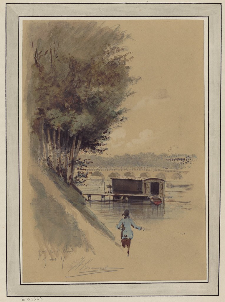 watercolour & pen sketch of riverside scene with background view of the bridge across the Seine between the communes of Boulogne-Billancourt and Saint-Cloud in the French department of Hauts-de-Seine