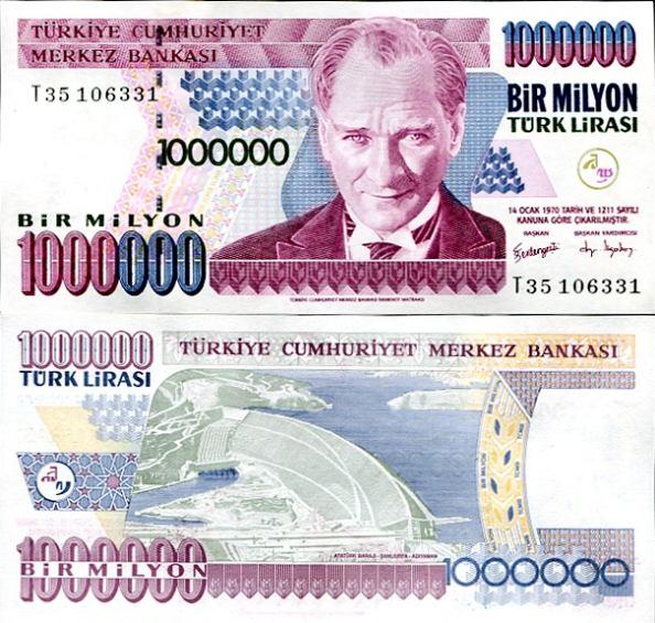 1 000 000 Lír Turecko 2002, Pick 213