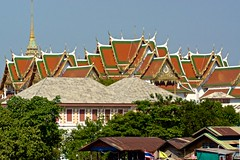 The roofs of the Grand Palace seen from Wat Arun, Bangkok, Thailand
