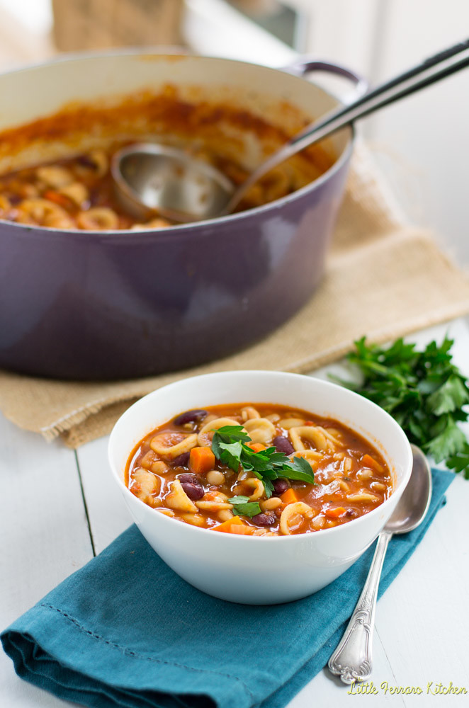 Vegetarian Pasta Fagioli via LittleFerraroKitchen.com