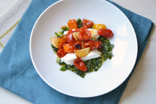 Roasted Caprese with Basil Oil via LittleFerraroKitchen.com