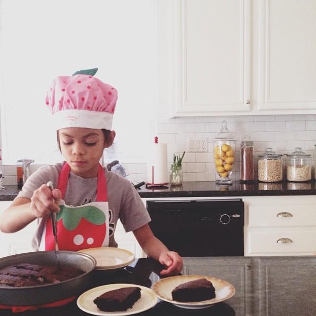 she's baking