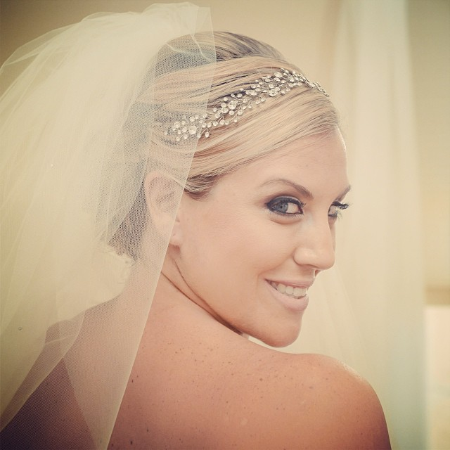 Danielle- crystal spray headband and veil- Bridal Styles Boutique