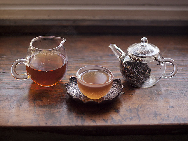 tea on the windowsill.