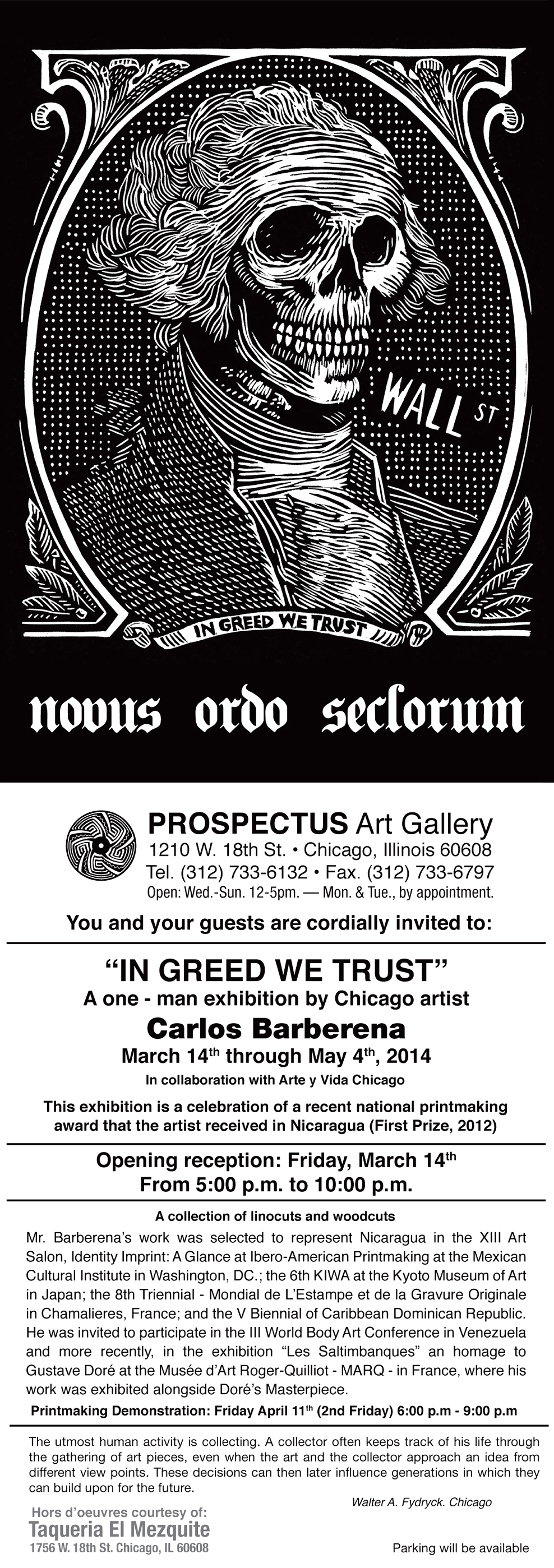 In greed we trust at prospectus gallery