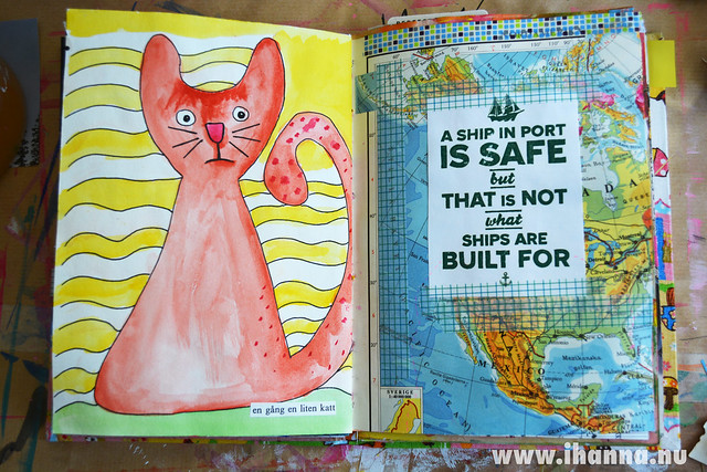Art Journal Spread: Kitten block