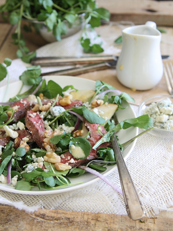 Steak and pear watercress salad with shallot dressing