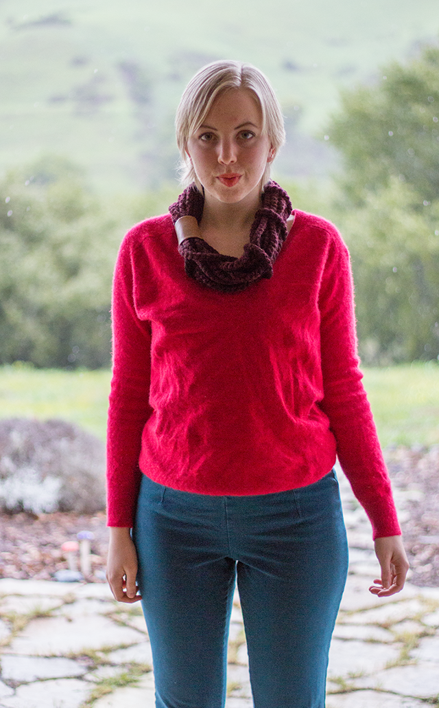 handmade burgundy cowl, red cashmere sweater, teal skinny trousers