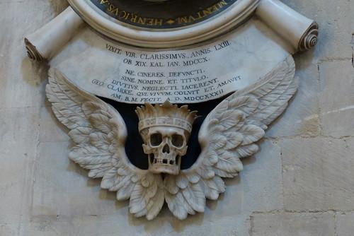 crâne ailé Henry Aldrich cathédrale Christ Church Oxford