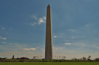 "the Washington monument aka ""the toothpick"" and little clouds in the sky"