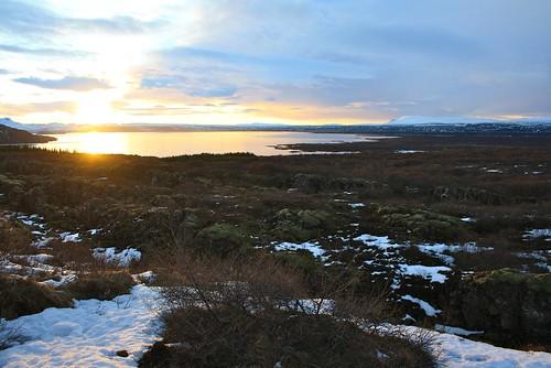 winter sunset lake iceland islandia thingvellir þingvellir ísland islande þingvallavatn
