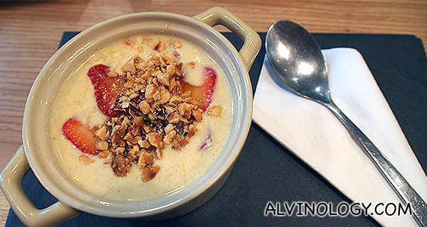 In-House Bircher Muesli - Yoghurt, muesli, granny smith, puffed brown rice, oats, maple syrup, nuts, cinnamon (S$10)