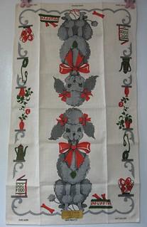 Vintage Linen poodle tea towel.
