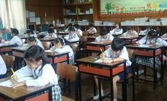 primary school students testing