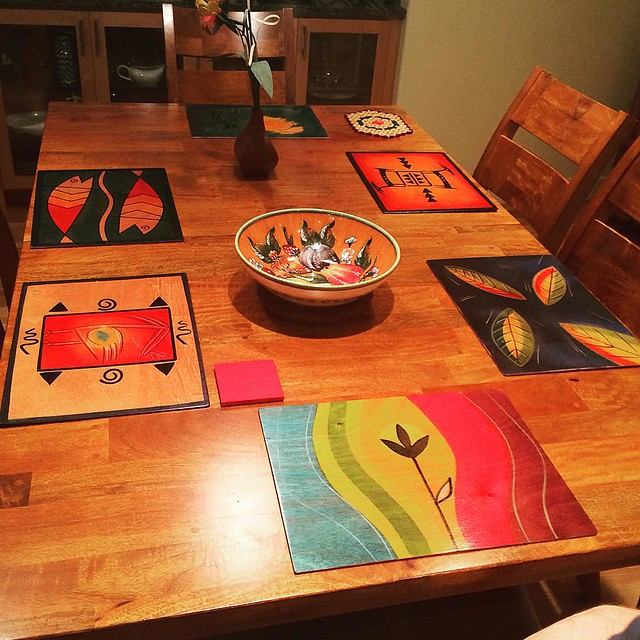 Digging these colorful wooden placemats.