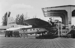 1966 RNZAF Bristol Freighter NZ5906 All patched up in the maintenance 'nose hangar' at Changi