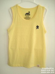 neck(0.0), collar(0.0), long-sleeved t-shirt(0.0), sleeve(0.0), outerwear(0.0), blouse(0.0), pocket(0.0), shirt(0.0), t-shirt(0.0), textile(1.0), clothing(1.0), yellow(1.0), sleeveless shirt(1.0),
