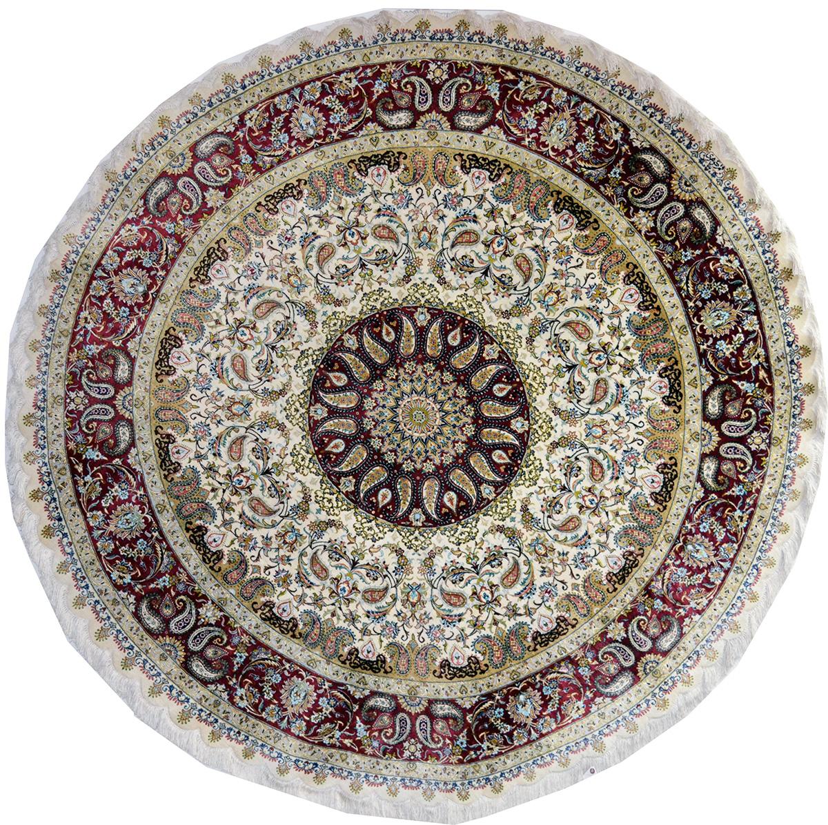 Qum Silk Circular Persian Area Rug 200x200