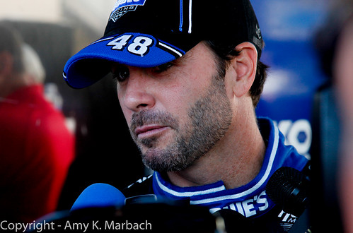 Jimmie Johnson talks to the media