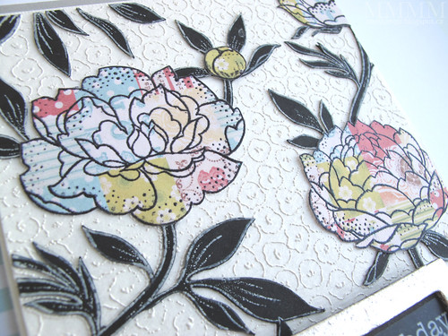 Triple stamped Hero Arts flower - close up