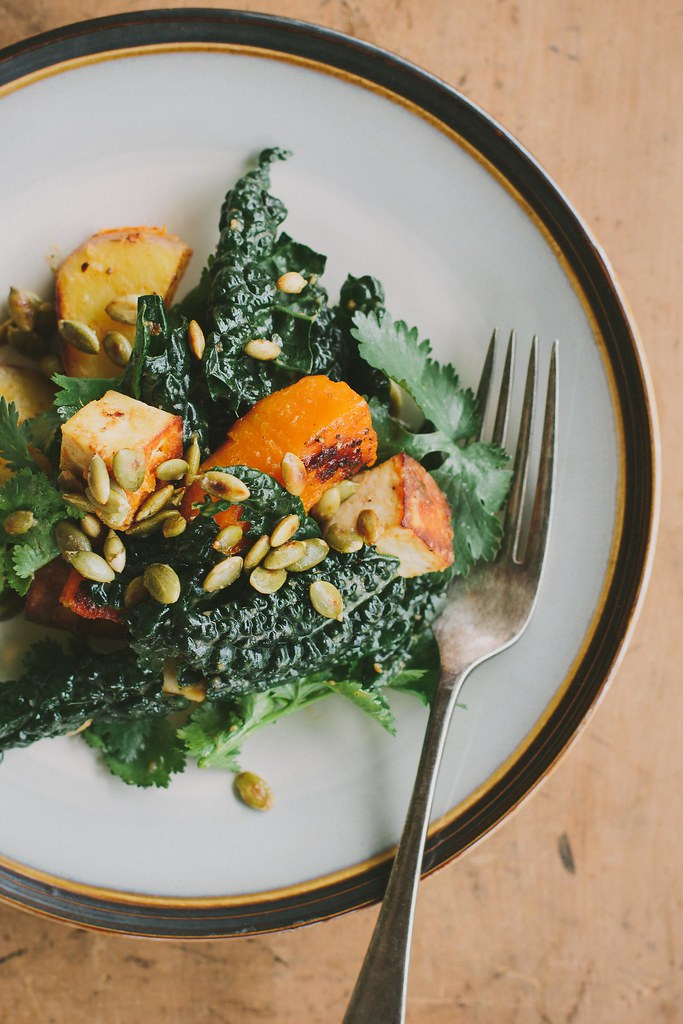 miso-curry butternut squash with tofu + cavolo nero