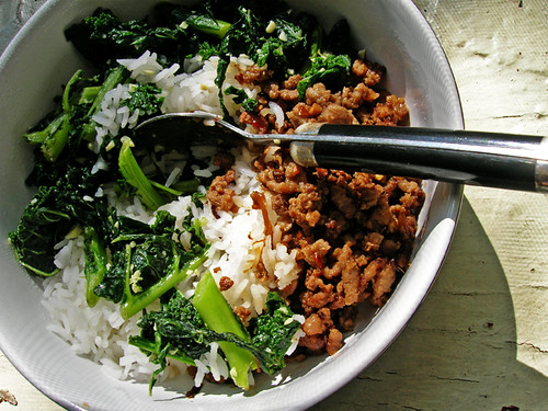chinese ground pork, kale, and rice