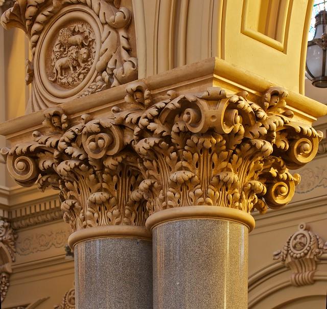 Saint francis xavier catholic church pillar wood carving