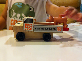 The truck from the Home Depot Kids Workshop in action.