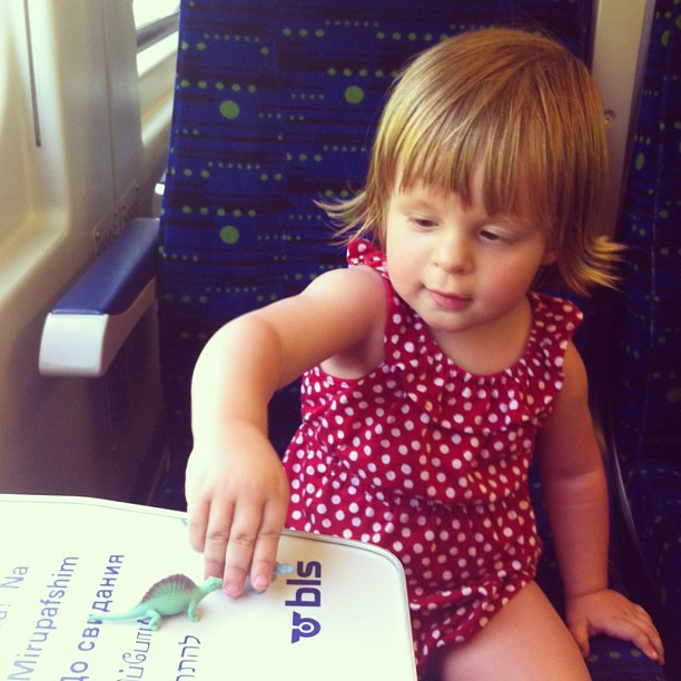 a girl's gotta have her dinos on the train (3 août).