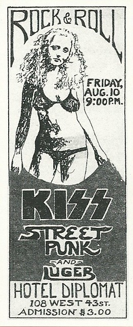 08/10/73 Kiss/ Street Punk/ Luger @ Hotel Diplomat, NYC, NY (Ad 1)
