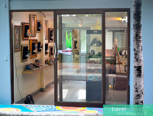 Trendy shoe art on Lang Suan Street.