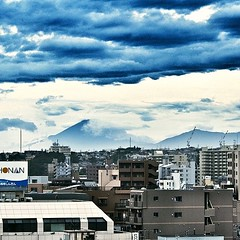 Typhoon Nr.18 passed. Sky clearing up. Mt. Fuji
