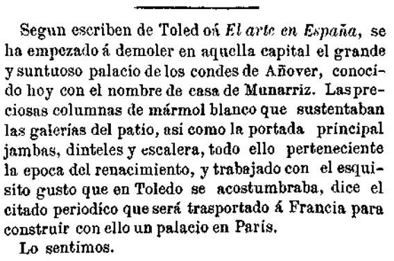 Noticia de la demolición del Palacio de Munárriz en el diario La España. 9 de noviembre de 1866.
