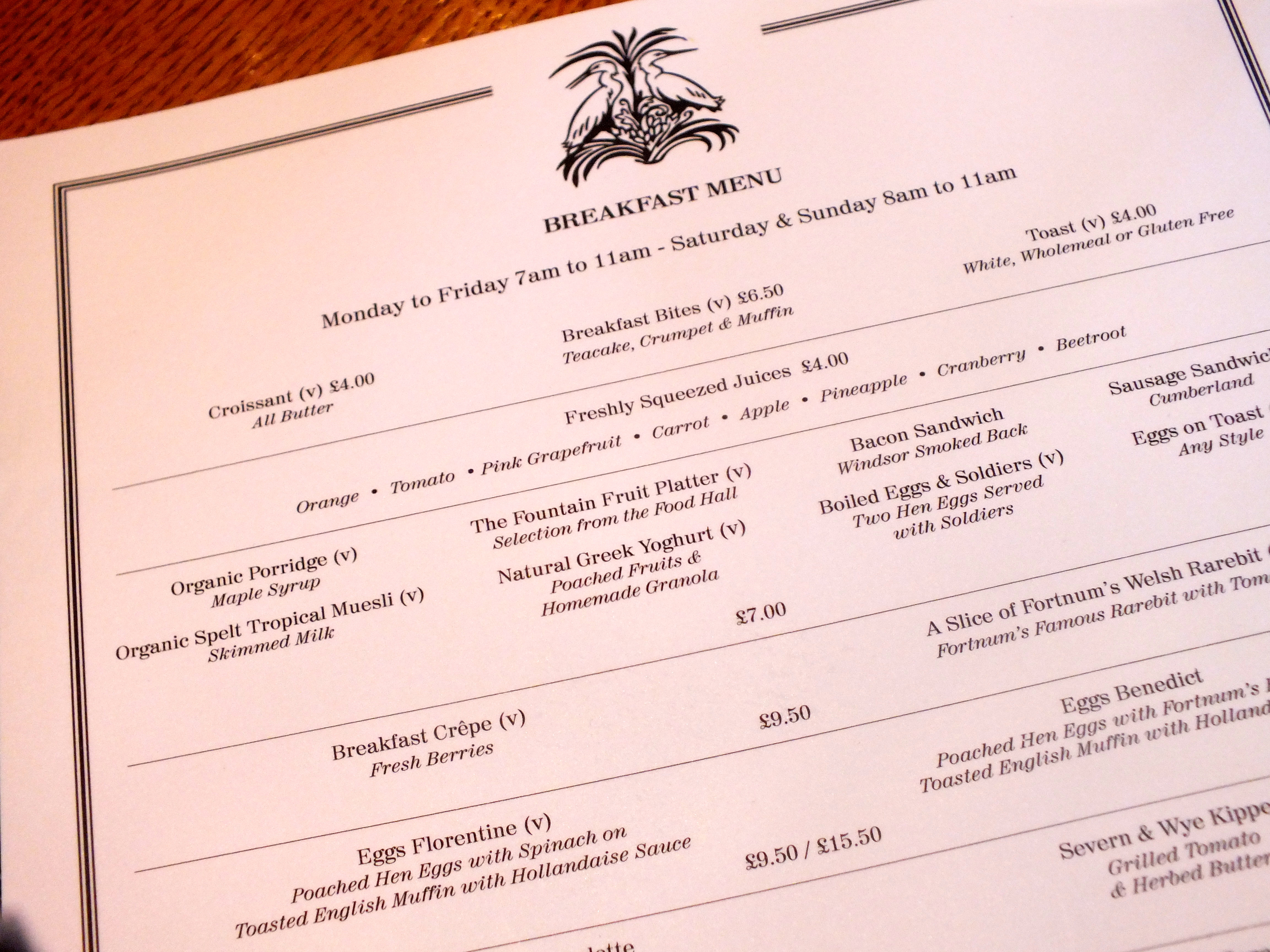 Fortnum And Mason Fountain Restaurant Menu