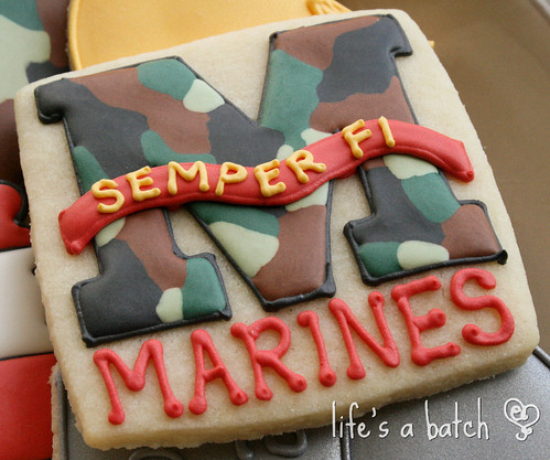 Marines logo cookie.