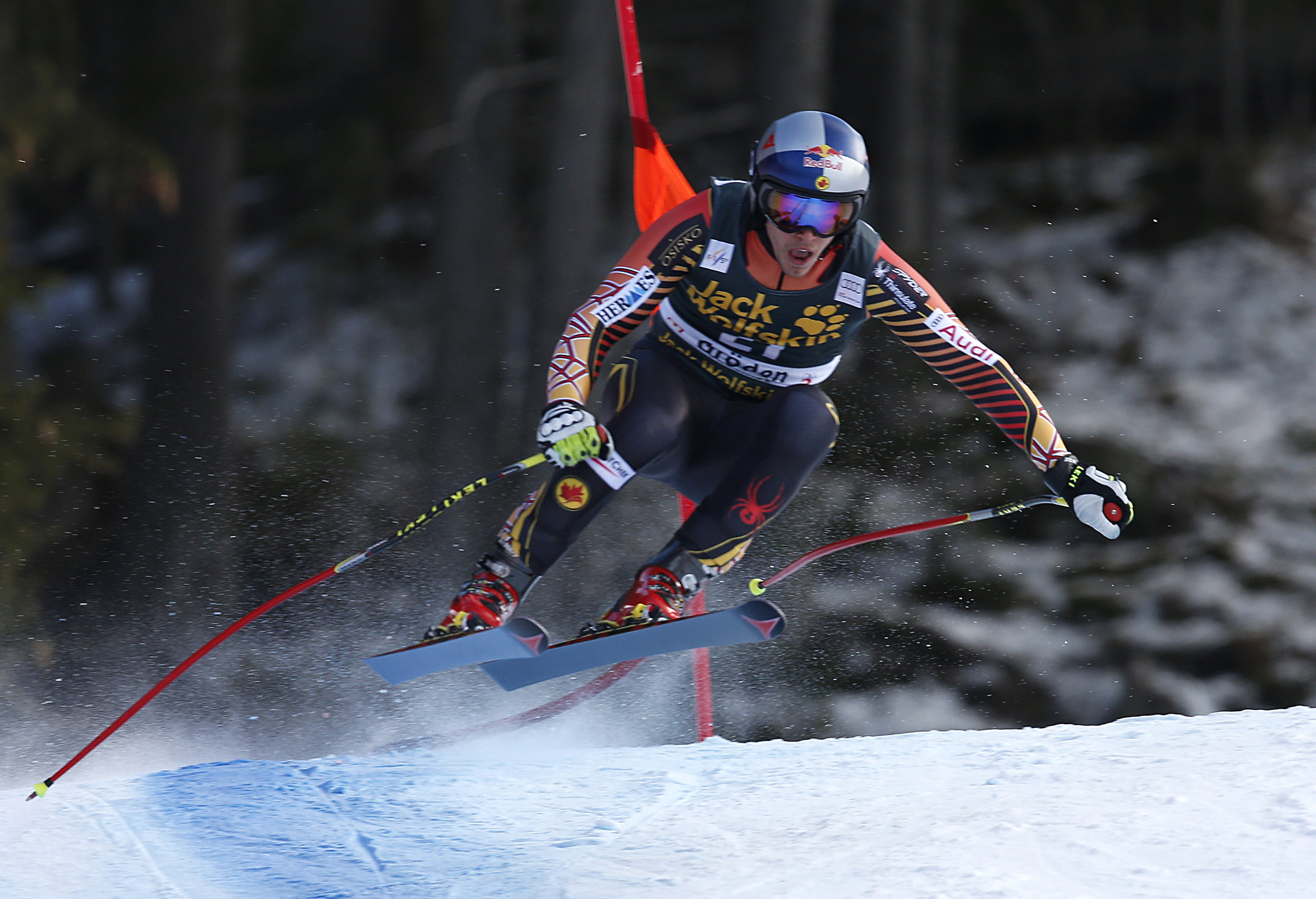 Erik Guay is the fastest man on the track during the downhill in ValGardena, ITA